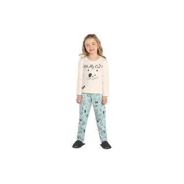 Pijama Infantil Feminino Gatinho Rovitex Kids Bege