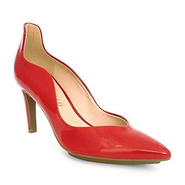 Scarpin Bico Fino Salto Médio com Meia Pata Verniz Cecconello 1314005-37-Vermelho