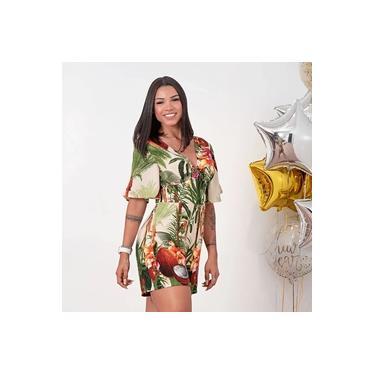 Macaquinho Feminino Estampa Floral Bege