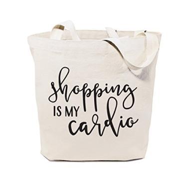 The Cotton & Canvas Co. Beach, supermercado, mercado de agricultores, compras e viagens, bolsa de ombro e bolsa de mão reutilizáveis..., Shopping is My Cardio, Medium
