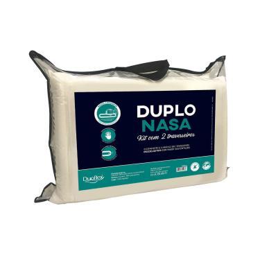Imagem de Kit 2 Travesseiros Nasa Poliuretano 45X65 Cm Duoflex Duplo Nasa Creme