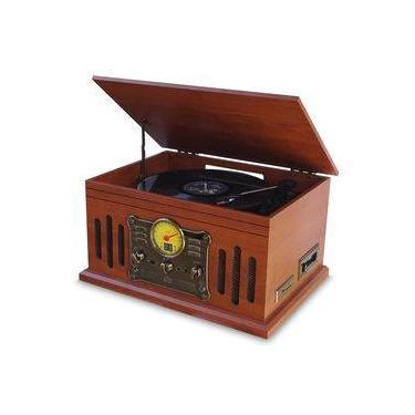 Vitrola Raveo Stadio Toca-discos, Cd Player, Bluetooth, Radio Fm, Usb, Sd, Fita K7 Bivolt