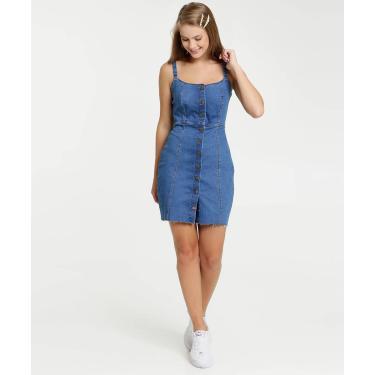 Vestido Feminino Jeans Chemise Alças Finas Marisa