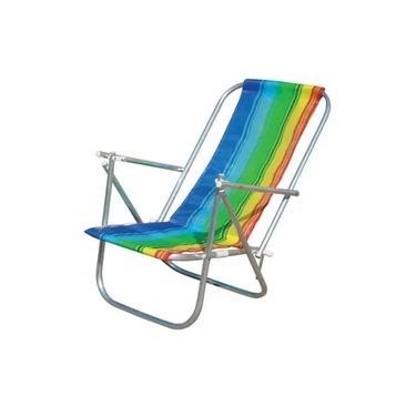 Cadeira de Praia Dobrável 2 Posições CAD0041 Botafogo Alumínio Cores Sortidas