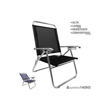 Cadeira De Praia King Oversize Reclinável 4 pos Alumínio Até 140Kg Camping - Zaka