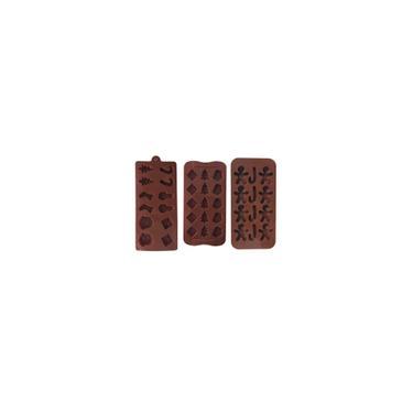 Natal Mold Chocolate Três peças Baking Tools diy molde de Cookies Ice Cube-S
