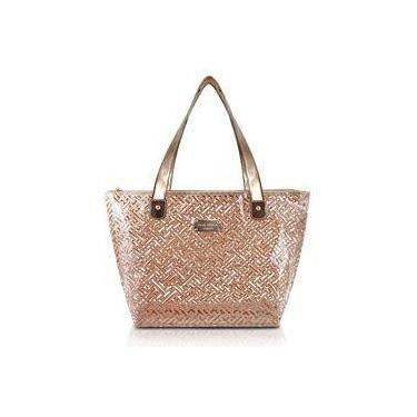 Bolsa Shopper Transparente Diamantes Dourada Jack Design