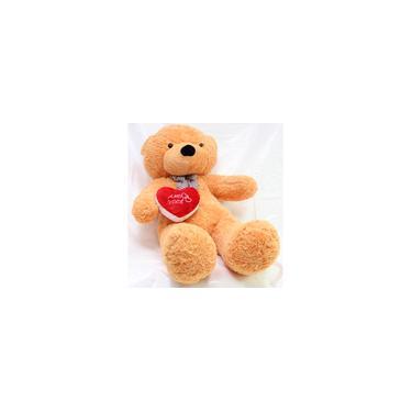 Imagem de Urso 140cm Caramelo Romântico com Coração de Pelúcia Gigante