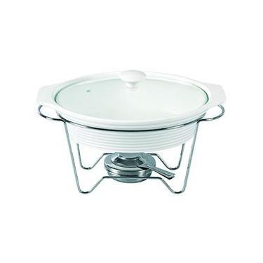 Rechaud Porcelana Oval Com Queimador 33Cm