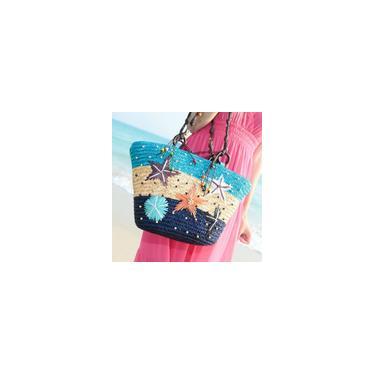 Mulheres Coral Cane Straw Handmade Malha Ombro Bolsa de praia de verão Bolsa