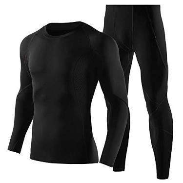 Camisa de treino, Andoer Conjunto de roupas de ginástica 2 peças masculinas de secagem rápida Conjunto de calças e camisa de compressão de manga comprida Conjunto de roupas de ginástica esportiva par