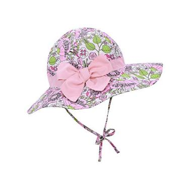 Century Star Chapéu de sol para bebês meninas chapéu de verão aba larga chapéu de verão chapéu de praia, Flores rosa e folhas verdes, 2-4T