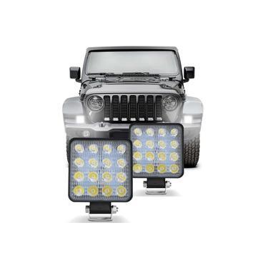 Par Farol Milha Universal Quadrado 16 LEDs 48W 12V 6000K Carro Moto Caminhão Jeep Auxiliar Off-Road