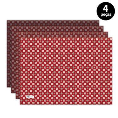 Imagem de Jogo Americano Mdecore Natal Flocos de Neve 40x28 cm Vermelho 4pçs
