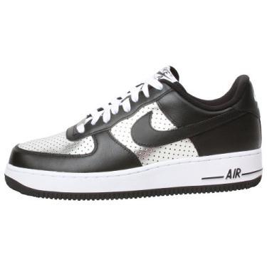 Imagem de NIKE Men's AIR Force 1 '07 Basketball Shoes 12 (Metallic Silver/Black/White)