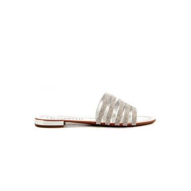 Sandália Feminina Rasteira Flat De Tiras Metalizada Com Brilho Cecconello 1277004