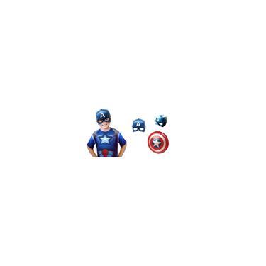 Imagem de Fantasias Infantil + Mascara Capitão América + Escudo - 1 a 12 Anos - 85cm max 140cm altura