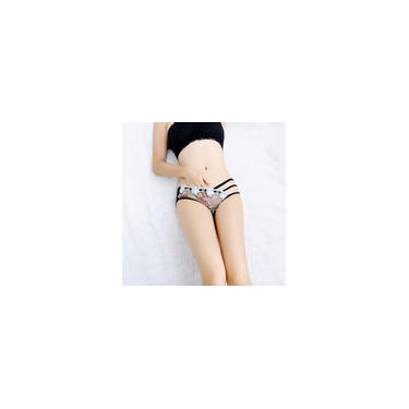 Ladies cintura baixa Lace oco Floral Calcinhas Backside transparente respirável
