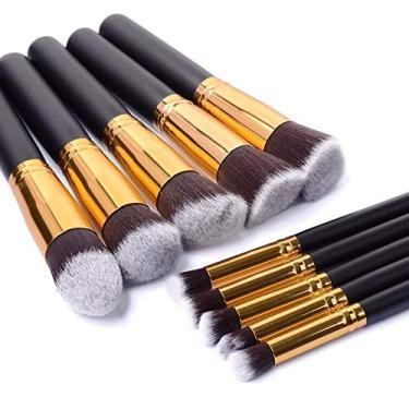 Imagem de Kit Maquiagem Sereia 10 Pinceis Dourado