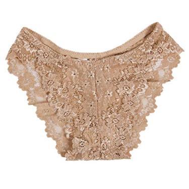 Youngy Roupa íntima, feminina, erótica, transparente, renda floral, calcinha tanga cintura baixa, calcinha atrevida - marrom