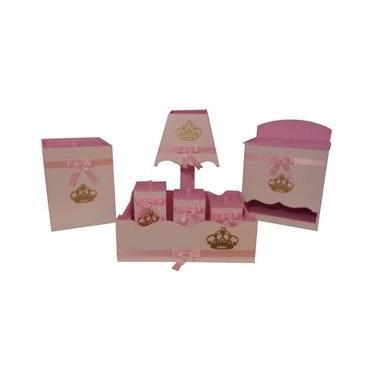 Kit Higiene Para Bebê Mdf Coroa Realeza Rosa E Dourado
