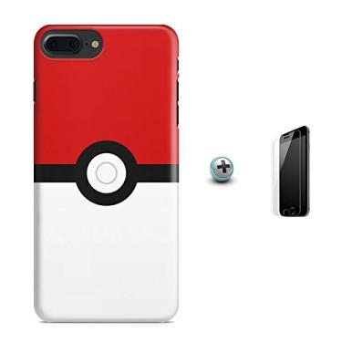 Kit Capa Case TPU iPhone 8 Plus - Pokemon Go Pokebola Pokeball + Pel Vidro (BD01)