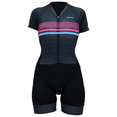 Macaquinho Ciclismo Hupi Rubi Manga Curta, Cor: Preto/rosa/azul, Tamanho: G