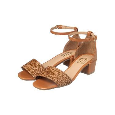 Sandália Salto Baixo Quadrado Trançado Caramelo  feminino