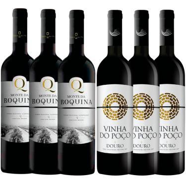 KIT C/ 3 VINHO TINTO PORTUGUÊS MONTE DA ROQUINA + 3 VINHA DO POÇO D.O.C. - 750ML