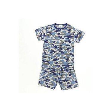 Pijama Manga Curta Camuflado Azul - Pepila