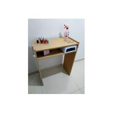 Mesa P/ Manicure C/ Prateleira P/ Estufa Mdf Cru 60x77x30 c/alças