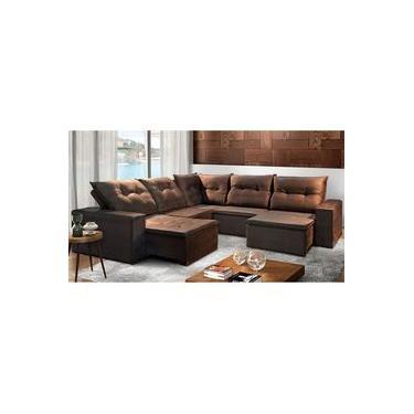 Sofá de Suede Retrátil e Reclinável 4 Módulos de 1,10m 3,68C x 3,68C x 1,05A x 1,20P e Canto | Luxemburgo Marrom