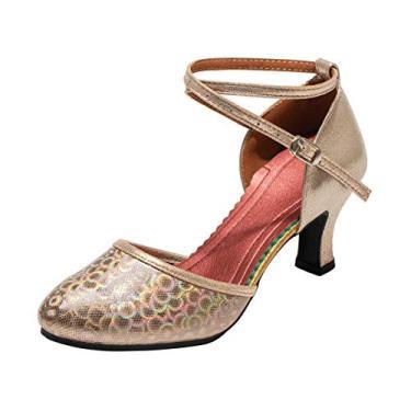 Sapato feminino de dança latina Dress First com bico fechado para salão de dança e tiras no tornozelo, Champagne, 7.5