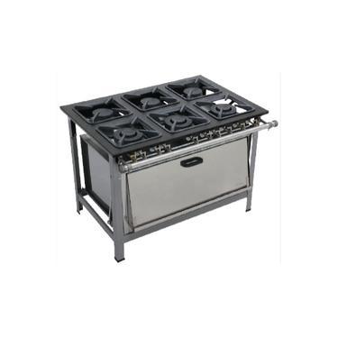 Fogão Dual Chef 30x30 Perfil 6,5 6 Bocas 3Q Duplos 3Q Simples B Pressão Pintado Metalmaq