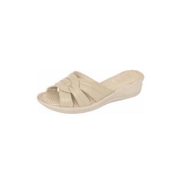 Sandália Tamanco GH Calçados Anti-stress Ortopédico de Couro Marfim  feminino