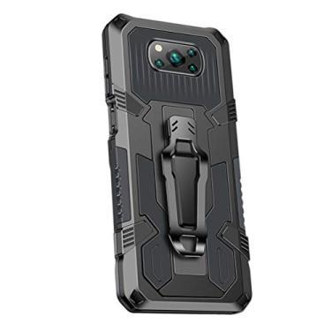 SHUNDA Capa para Xiaomi Poco X3 NFC, armadura de proteção de nível militar com absorção de choque, suporte integrado - cinza
