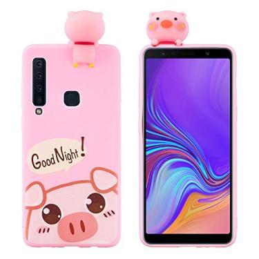 SHUNDA Capa de silicone para Samsung Galaxy A9 (2018) [película de desenho fofo 3D] Capa protetora de TPU flexível com absorção de choque para Samsung Galaxy A9 (2018) - Porco fofo