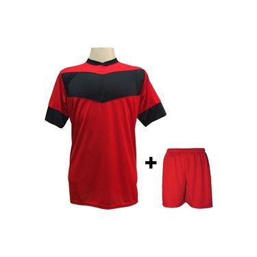 Uniforme Esportivo com 18 camisas modelo Columbus Vermelho/Preto + 18 calções modelo Madrid + 1 Goleiro +