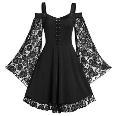 Vestidos góticos para mulheres plus size de renda cruzada camiseta vestido manga borboleta irregular cosplay Chaofanjiancai, G-black, XX-Large