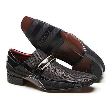 Sapato Social Masculino Calvest com Metal Dourado Estampado 1930C229ESC-PRETO-42