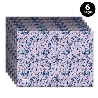 Imagem de Jogo Americano Mdecore Floral 40x28 cm Roxo 6pçs