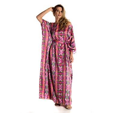 Kaftan longo em cetim de seda com faixa vestido saída de verão Donna Brasiliana (Estampa Inca, Único)
