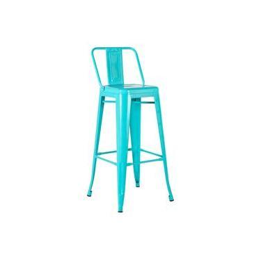 Banqueta Iron Tolix 76 cm com encosto - Azul Tiffany