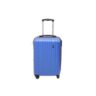 Mala de Bordo para Viagem com trava de segurança 4 rodinhas alça de carrinho LS MA8105 tamanho médio cor azul