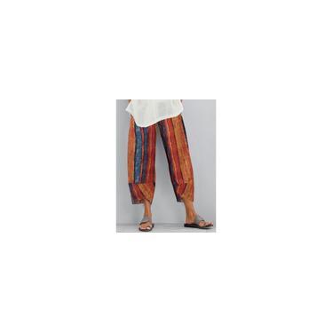 Calças casuais para mulheres com estampa floral retrô grafite com cintura elástica e bolso