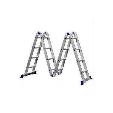 Escada Multifuncional Em Alumínio 3x4 Com 12 Degraus Articulada Real