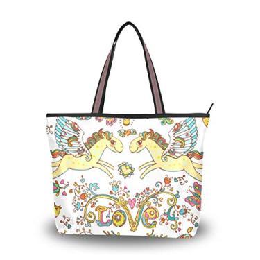 Bolsa feminina com alça superior romântica amor fada cavalo bolsa de ombro para mulheres, Multicolorido., Large