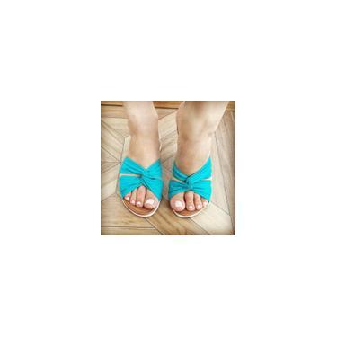 Imagem de Rasteirinha em linho azul turquesa