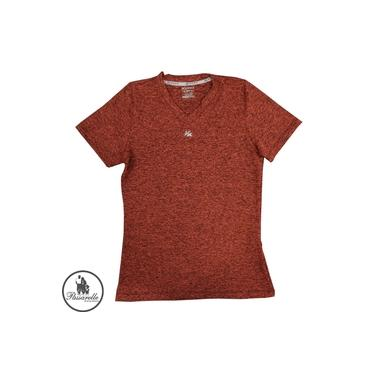 Camiseta Feminina Kanxa Baby Look Blend Manga Curta Academia P/ Treinos DrySoft Microfibra 7092 - Laranja Cítrico