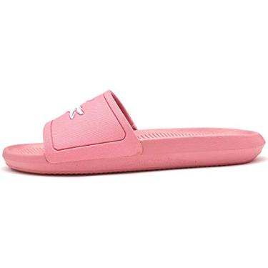 Chinelo Lacoste Croco Slide Feminino Rosa/Branco 33
